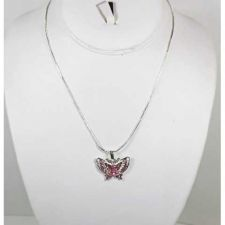 Buy *~New Pretty Silver Plated Rhinestone Butterfly necklace