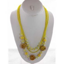 Buy *~New Pretty Yellow beaded Multi strand Necklace