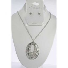 Buy *~New Silver tone Necklace with CZ Stone Stud earrings