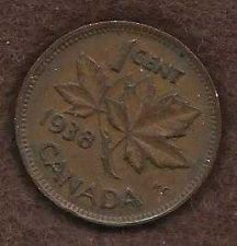 Buy Canada 1 Cent 1938 Uncrowned King George V Coin