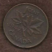 Buy Canada 1 Cent 1947 Uncrowned King George V Coin