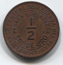 Buy 1947 Peru 1/2 Sol de Oro 50 centavos Small 7 Clean Collectible