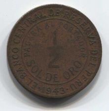Buy 1943 S Peru 1/2 Sol de Oro 50 centavos Philadelphia or S.F. struck Collectible