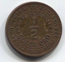 Buy 1954 Peru 1/2 Sol de Oro 50 centavos Low Mintage Rare Clean Collectible