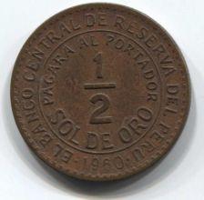Buy 1960 Peru 1/2 Sol de Oro 50 centavos Small Nine Clean Collectible