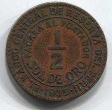 Buy 1935 Peru 1/2 Sol de Oro 50 centavos Sharp Clean Patina Collectible