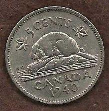 Buy Canada 5 Cents 1940 WWII Era Uncrowned George VI Beaver Nickel