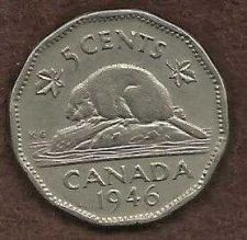 Buy Canada 5 Cents 1946 WWII Era Uncrowned George VI Beaver Nickel