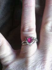 Buy Red Ruby and Australian Crystal Heart Shaped Sterling Silver 925 Ring 8