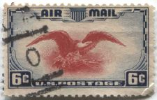 """Buy 1938 6c AirMail Red Eagle with very nice football cancellation """"0"""" killer clean"""
