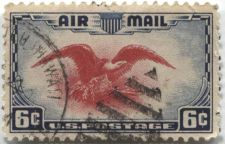 Buy 1938 6c AirMail Red Eagle with very nice football cancellation Hawaii clean