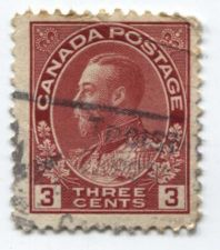 Buy 1923 Canada 3 cents Carmine Red King George V Used Light Cancel Stamp