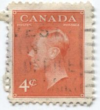 Buy 1951 Canada 4 cents Vermillion King George VI Used Light Cancel Stamp
