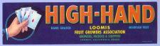 Buy CA Loomis Fruit Crate Label High-Hand Hand Graded Mountain Fruit Loomis Fr~8