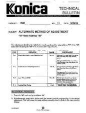 Buy Konica 11 ALTERNATE METHOD OF ADJU Service Schematics by download #135949
