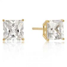 Buy 7mm New Sterling Round Cut Cz Studs Gold