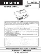 Buy HITACHI PJ500 SM 0516E Manual by download Mauritron #186213