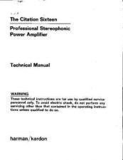 Buy HARMAN KARDON CITATION SIXTEEN SM Manual by download Mauritron #185652