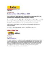 Buy PALM LOTUS ADVISOR EDITORS CHOICE AWARDS 2003 (403) by download #127206