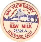 Buy CA Haywood Milk Bottle Cap Name/Subject: Bay View Dairy Grade A Raw Milk M~466