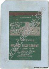 Buy CT Manchester Matchcover Walnut Restaurant 7 Walnut St ct_box3~1101