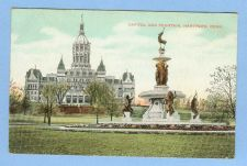 Buy CT Hartford Capitol and Fountain View Of Capitol Building w/Large Old Foun~480