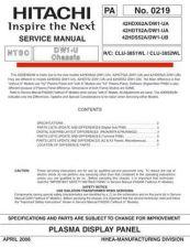 Buy HITACHI 42HDX62A USA Service Manual by download #163372
