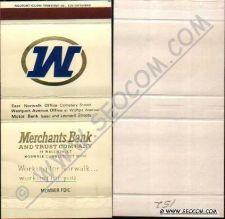 Buy CT Norwalk Matchbox Matchcover Merchants Bank & Trust Company 59 Wall Stre~2220