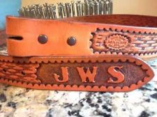 Buy Pre-order Personalized Custom Western Tooled Leather Belt WITH YOUR INITIALS