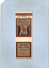 Buy CAN Vancouver Matchcover Reliable Drug Stores can_box1~103
