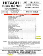 Buy HITACHI 46F500A USA Service Manual by download #163387
