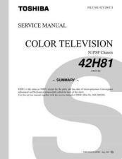 Buy TOSHIBA 42H81 SUM Service Schematics by download #159968