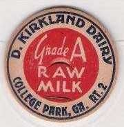 Buy GA College Park Milk Bottle Cap Name/Subject: D. Kirkland Dairy Grade A Ra~149