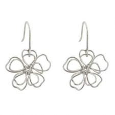 Buy Silvertone Floral Earring Set