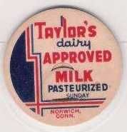 Buy CT Norwich Milk Bottle Cap Name/Subject: Taylor's Dairy Approved Milk~274