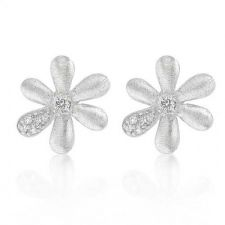 Buy Matte Rhodium Flower Pedal Earrings
