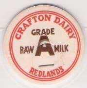 Buy CA Redlands Milk Bottle Cap Name/Subject: Crafton Dairy Raw Milk~50