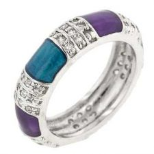 Buy Purple And Turquoise Fashion Ring (size: 07)