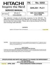 Buy HITACHI 32HLX61 USA Service Manual by download #163293