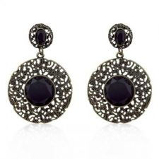Buy Golden Antique Filigree Black Crystal Earrings