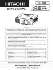 Buy Hitachi CPX880 W CPX885 W NO 0526E Manual by download Mauritron #186020