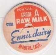 Buy CA Madera Milk Bottle Cap Name/Subject: Ennis Dairy Raw Milk~79