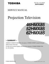 Buy TOSHIBA 46 52 62HMX85 SUM Service Schematics by download #160000