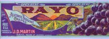 Buy CA Rayo Fruit Crate Label Rayo Brand Alicante Bouschet Grapes J. D. Martin~25
