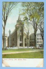 Buy CT New Haven Public Library View From Park Of Old Library Building Horses ~605