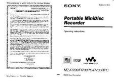 Buy SONY MZR90+91 MANUAL by download #129005