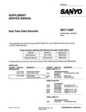 Buy Sanyo Service Manual For SRT-7168P Supplement Manual by download #176030
