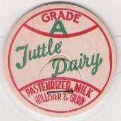 Buy CA Hollister & Gilroy Milk Bottle Cap Name/Subject: Tuttle Dairy~281
