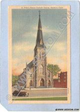 Buy CT Danbury St Peters Roman Catholic Church Street Scene Intersection w/Old~519
