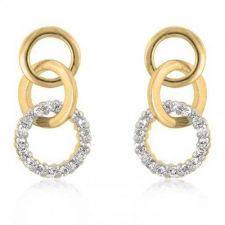 Buy Goldtone Triplet Hooplet Earrings